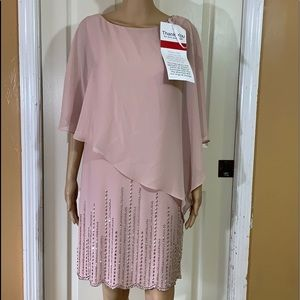 Xscape pink chiffon capelet beaded dress sz 6